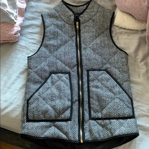 White and black quilted vest